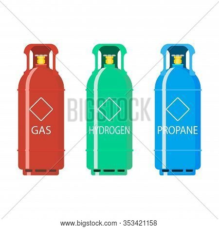 Gas Tank Ballon Hydrogen And Propane. Illustration Gas Balloon Flammable, Butane Compressed In Conta