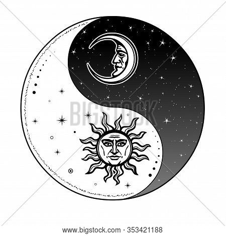 Mystical Drawing: Stylized Sun And Moon With Human Face, Day And Night. Zen Symbol. Ying Yang Sign O