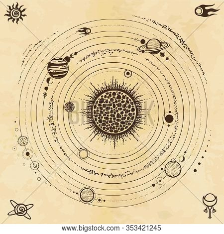 Color Drawing: Stylized Solar System, Orbits, Planets, Space Structure. Space Symbols. Background -
