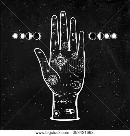 Mystical Drawing: In The Human Hand Is The Universe: Stars, Comet, Cosmic Symbols. Alchemy, Esoteric