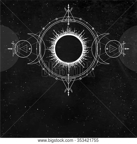 Mystical Drawing: Sun, Moon Phases, Orbits Of Planets, Energy Circle. Alchemy, Magic, Esoteric. Sacr