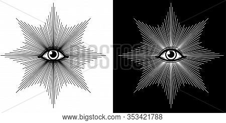 Mystical Drawing: The Shining All-seeing Eye. Alchemy, Magic, Esoteric, Occultism. Black And White O