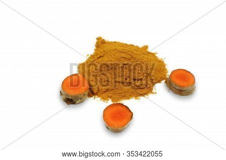 Turmeric Powder And Turmeric Root Or (curcumin) Which Is Isolated On A White Background As An Ingred