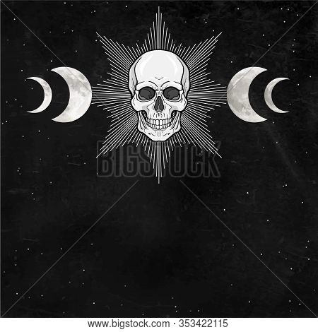 Mystical Drawing: Shining Human Skull, Pagan Wicca  Symbol, Phases Of The Moon. Alchemy, Magic, Esot