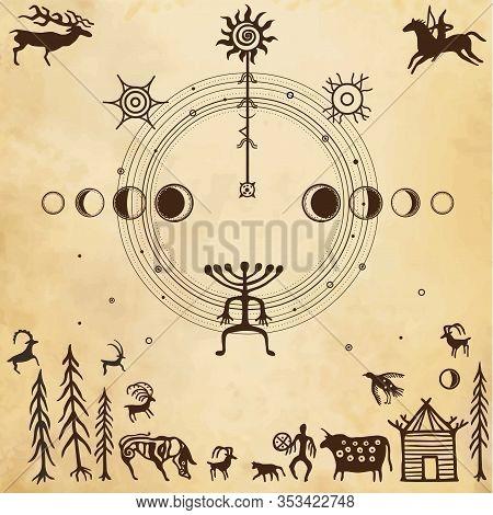 Symbolical Primitive Universe, Peace Arrangement. Ancient Rock Paintings.set Of Petroglyphs, Nature