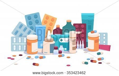 Flat Bottles And Pills. Medicine Pills Capsules And Blisters, Medical Supplements And Drugs Addictio