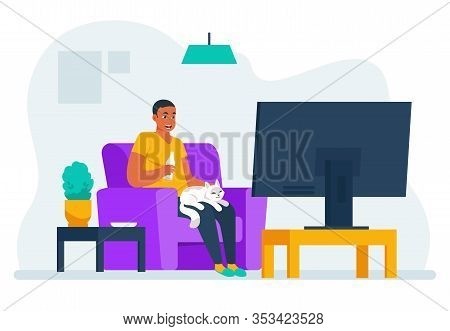 Man Watching Tv. Cartoon Guy Sitting On Sofa At Home And Watching Movie Or Documentary On Streaming