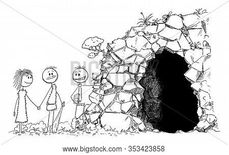 Vector Cartoon Stick Figure Drawing Conceptual Illustration Of Prehistoric Man Or Caveman Realtor Or
