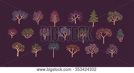 Set Of Colorfull Autumn Trees In Simple Pointillism Style - Part 02. Vector Illustration On Violet B