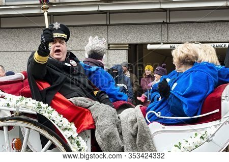 St. Paul, Mn/usa - January 25, 2020: Senior Royalty Rides In Carriage During Annual Grande Day Parad