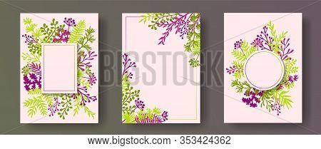 Botanical Herb Twigs, Tree Branches, Leaves Floral Invitation Cards Set. Plants Borders Natural Card