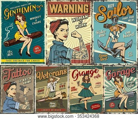Pin Up Colorful Posters Set With Garage Retro Party Sailing Tattoo Studio Military Women Power Cover