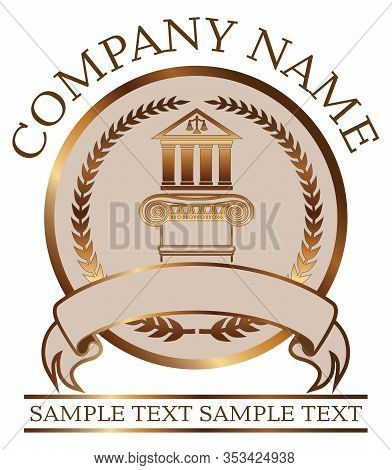 Law Or Lawyer Seal - Gold With Colonnade And Ionic Column Is An Illustration Of A Lawyer Or Law Offi