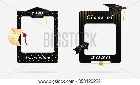 Two Black Graduation Frame For Party Photo