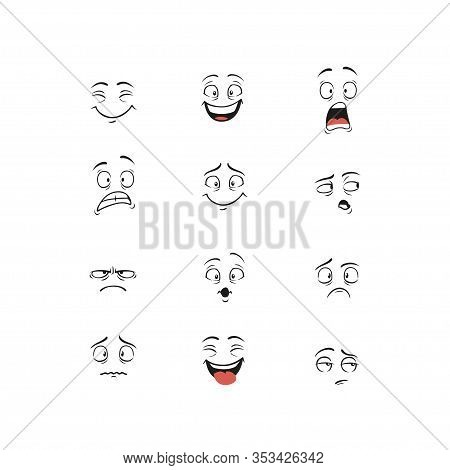 Set Of Cartoon Character Demonstrating Different Emotions