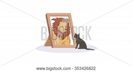 Small Black Cat Looking Herself At Mirror