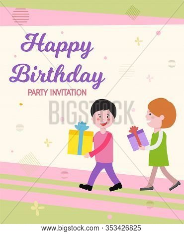 Vector Written Happy Birthday Party Invitation. Joyful Boy And Girl Go To Birthday And Carry Gifts.