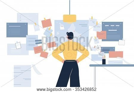 Cartoon Male Looking At Wall With Many