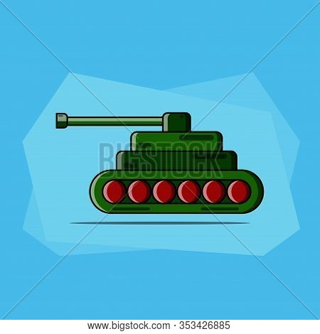 Vector Illustration Of A Cartoon Tank. Serves As A Vehicle For Military Warfare