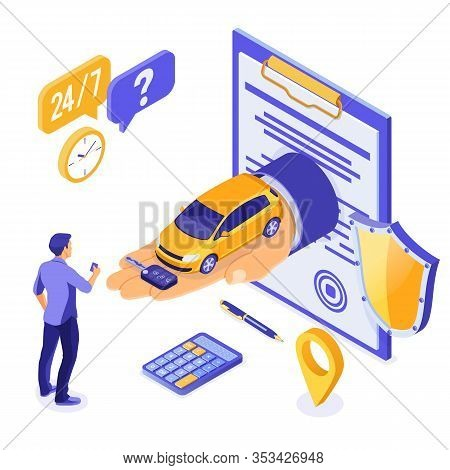 Sale, Purchase, Rent Car Isometric Concept For Landing, Advertising With Car On Hand, Man With Credi