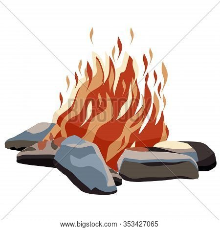 An Orange Bonfire Burns Inside The Stones. Vector Cartoon Style Bonfire Illustration. Icon For Sites