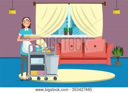 Hotel Or House Cleaning Service Flat Cartoon Banner Vector Illustration. Maid In Uniform Pushing Tro