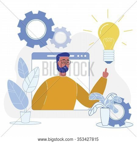Successful Adaptation New Idea To Final Product. Flat Vector Illustration On White Background. Male
