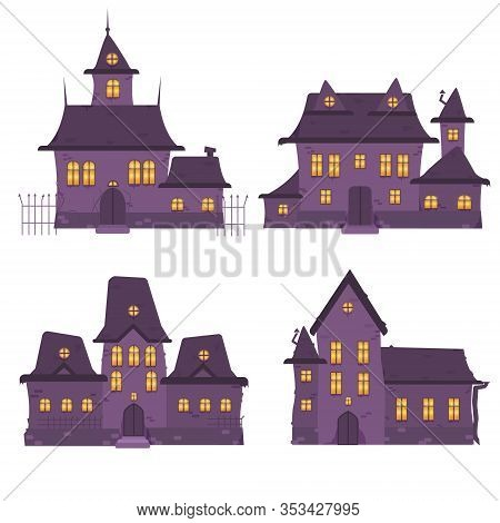 Set Of Various Purple Haunted House Vector