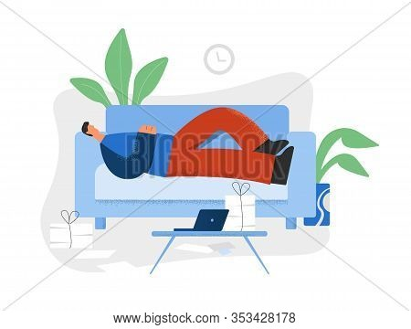 Lazy Man Lying On Couch In Front