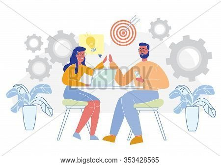 Creative Team Discuss Business Project Development, New Enterprise, Company Launch. Startup Teamwork