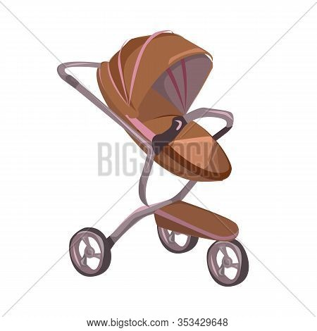 Cartoon Brown Baby Stroller Vector Illustration. Girl Perambulator. Boy Pushchair. Child Carriage. N