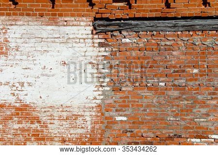 An Old Abandoned Exterior Whitewashed Red Brick Garden Building Wall