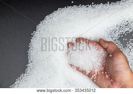 Close-up Of Plastic Polymer Granules. Polymer Plastic. Compound Polymer..plastic Beads