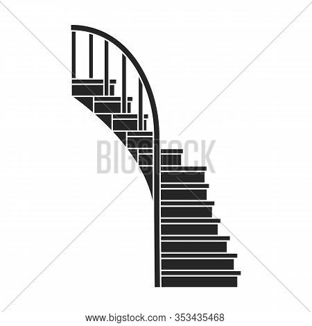 Wooden Staircase Vector Icon.black Vector Icon Isolated On White Background Wooden Staircase.