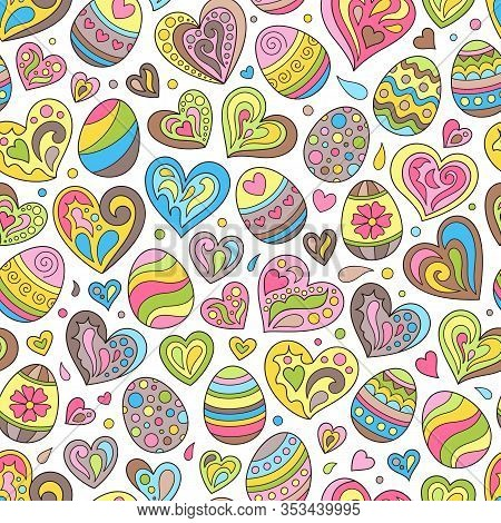 Cartoon Easter Seamless Pattern Of Doodles Hearts And Eggs On White Background. Cute Continuous Cele