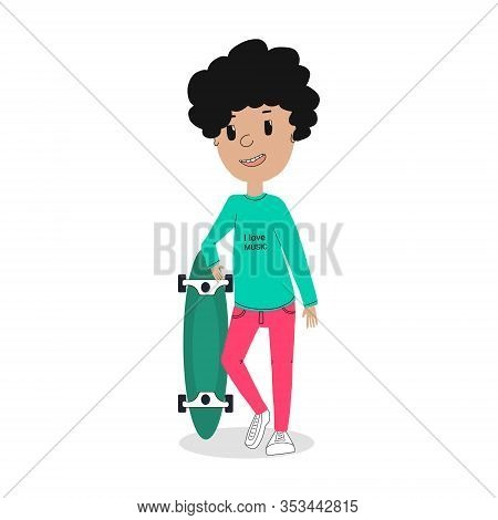Cute Hipster Character. Skater Guy With A Longboard On The Street.vector Illustration In A Flat Desi
