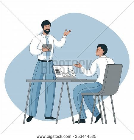 Vector Illustration Of Coworkers Are Communicating In Office. Boss And Staff In Coworking Open Space