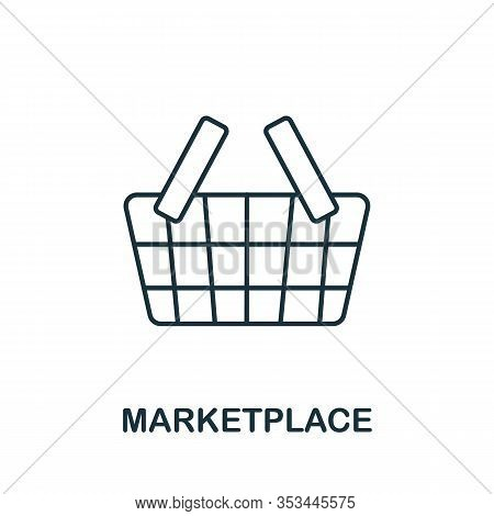 Marketplace Icon From Crowdfunding Collection. Simple Line Marketplace Icon For Templates, Web Desig