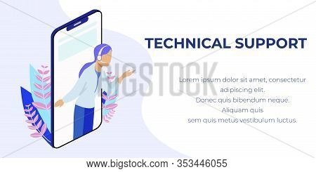 Personal Technical Support On Mobile. Female Hotline Operator On Phone Screen Providing Customer Wit