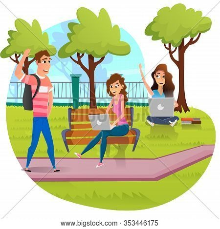 Cartoon Happy Female Students Study On Laptop Sitting On Bench Or Grass In Campus Park. Information,