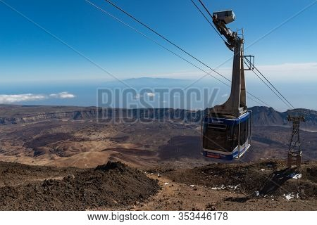 Teide National Park, Tenerife, Canary Islands, Spain- January 14, 2020: Cableway On The Volcano Teid