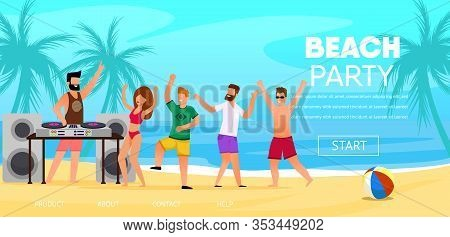 Dj Play Music Outdoors At Beach Party Vector Illustration. Man Mix Track Happy People Crowd Dance Gi