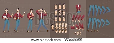 Animated Man Character With Takeaway Coffee Cup Or Laptop Flat Cartoon Vector Illustration. Bearded
