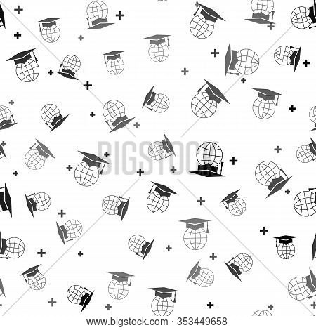 Black Graduation Cap On Globe Icon Isolated Seamless Pattern On White Background. World Education Sy