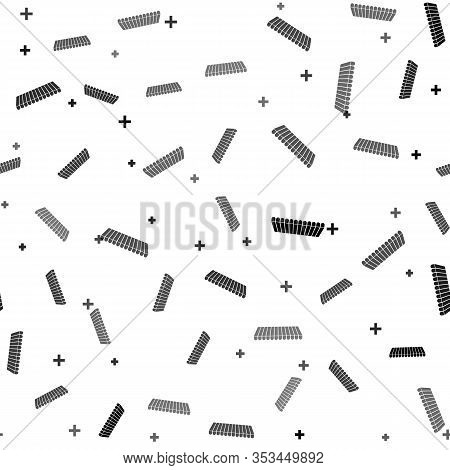 Black Striped Awning Icon Isolated Seamless Pattern On White Background. Outdoor Sunshade Sign. Awni