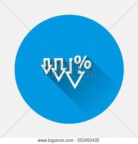 Vector Icon Down Arrow And Percentage Sign Icon On Blue Background. Flat Image With Long Shadow.