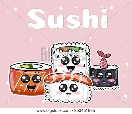 Kawaii Sushi With Happy Faces Flat Cartoon Banner Vector Illustration. Smiling Sushi Rolls With Big