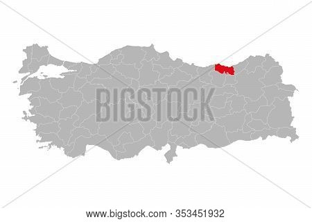 Trabzon Province Marked Red Color On Turkey Map Vector. Gray Background.