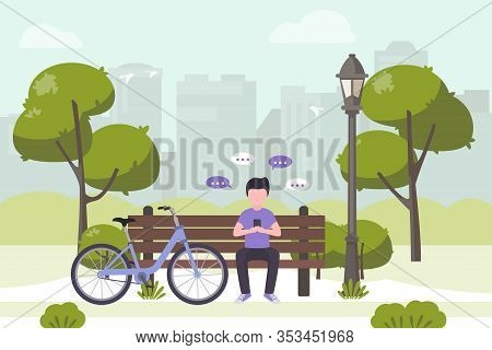 Young Man Sitting In City Park And Sending Messages With Smartphone. Stock Vector. People And Mobile