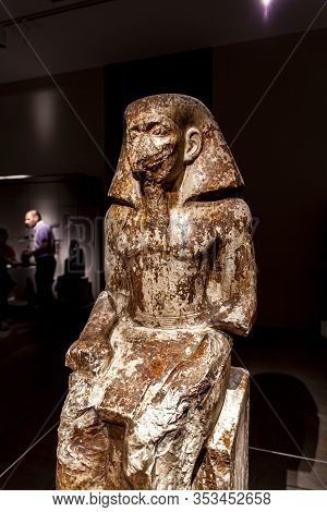 Turin, Italy - June 3, 2015: Statue Of The Governor Wakha, Son Of Neferhotep In Museo Egizio In Turi
